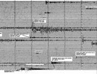 Canberra seismograph recording of 16th August 1995. Note that the significant Lop Nor explosion is swamped by other seismic events on that day.