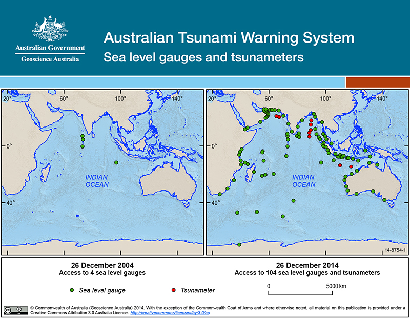 Australian Tsunami Warning System Sea level gauges and tsunameters. Due to the complexity of this image no alternative description has been provided. Please email Geoscience Australia at clientservices@ga.gov.au for an alternate description.