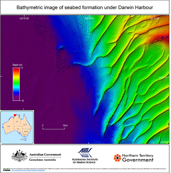 Bathymetric image of seabed formation under Darwin Harbour