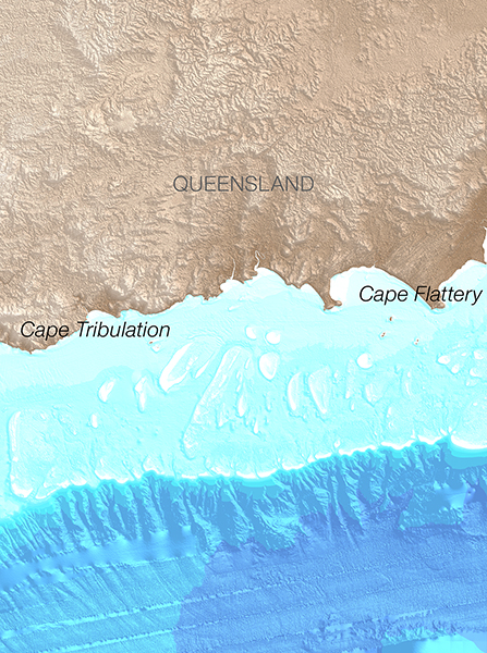 30 m bathymetry data of the Great Barrier Reef, from Cape Tribulation to Cape Flattery