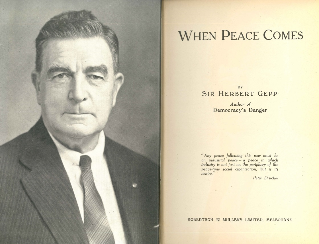 Inside cover of the book When Peace Comes. Featuring a photo of the author and the title page