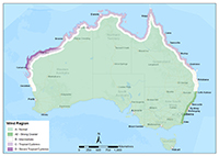 Map of Australia showing five wind region classes colour coded