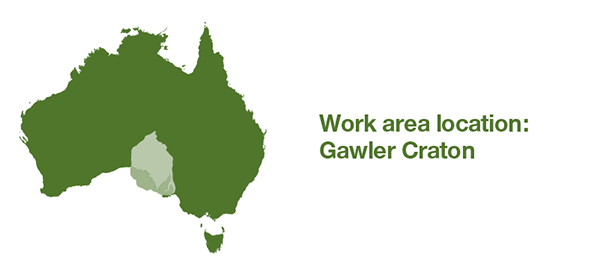 Map of Australia. Selected work area is central South Australia.