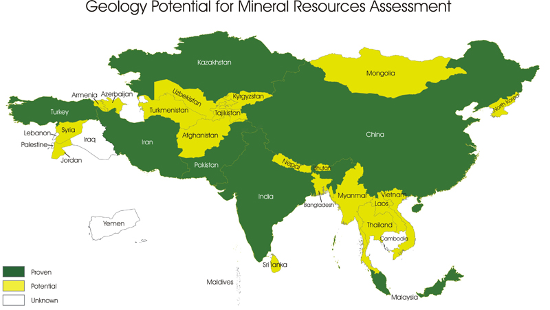 Map Of Asia Resources.Helping Developing Countries Manage Their Own Resources Geoscience
