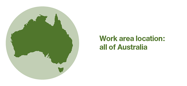 Map of Australia. Selected work area covers all of Australia.