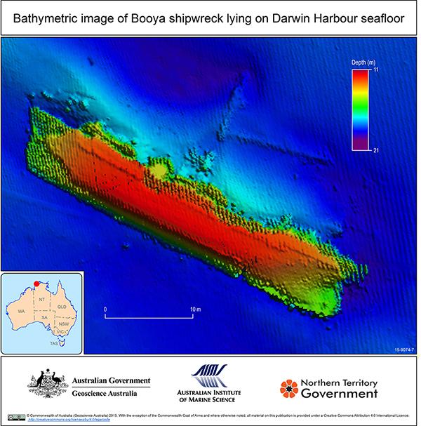 Bathymetric image of Booya shipwreck lying on Darwin Harbour sea floor