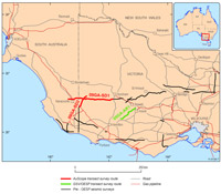 Map of seismic surveys in western Victoria into South Australia. See L193 AuScope Southern Delamarian for details.