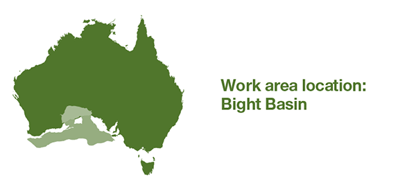 Map of Australia. Selected work area is offshore southern Western Australia and offshore South Australia.