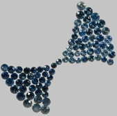 A display of blue coloured sapphire gemstones
