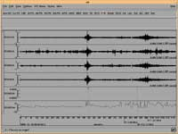 Infrasonic recording of a Californian earthquake (courtesy of CMR Infrasound Waveform Library)