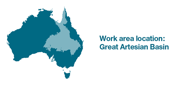 Map of Australia. Selected work area covers inland Queensland, inland New South Wales, the northeast of South Australia and the southwest of the Northern Territory.