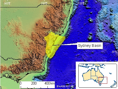 Australia Location Map.Sydney Basin Geoscience Australia