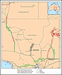 Map of seismic surveys in South Australia. See L189 Gawler-Curnamona-Arrowie, L190 Gawler-Officer-Musgrave-Amadeus Survey (GOMA) and L191 Curnamona-Gawler Link for details for details.